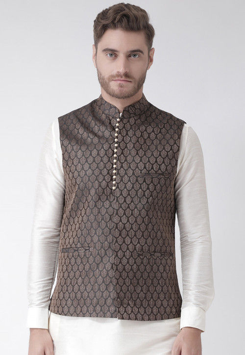 Woven Art Silk Jacquard Nehru Jacket in Black