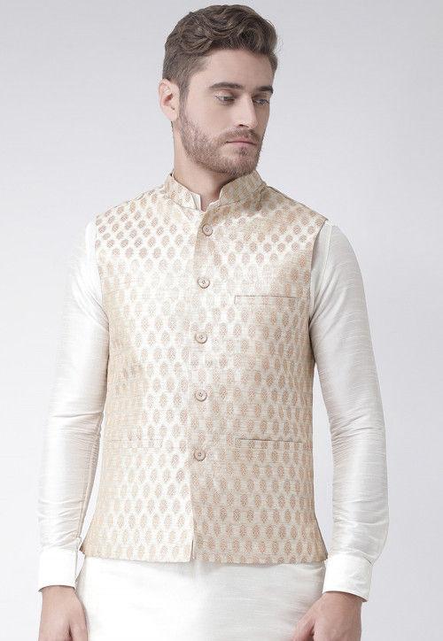 Woven Art Silk Jacquard Nehru Jacket in Cream