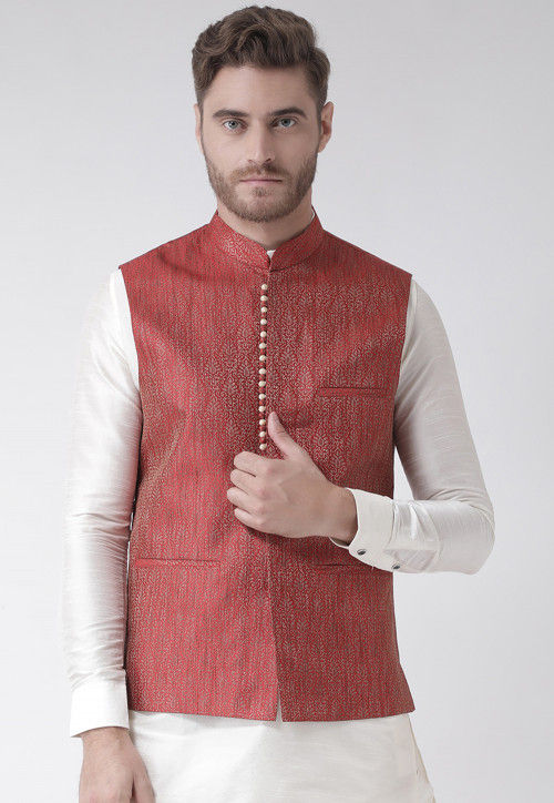 Woven Art Silk Jacquard Nehru Jacket in Red