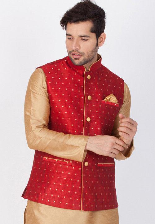 Woven Art Silk Jacquard Nehru Jacket in Red