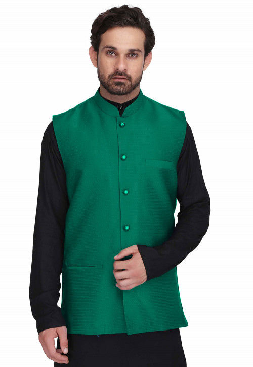 Woven Art Silk Jacquard Nehru Jacket in Teal Green