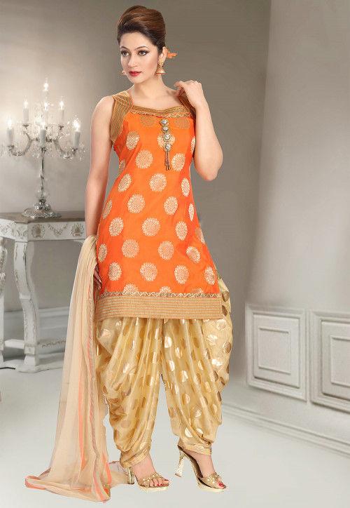 Woven Art Silk Jacquard Punjabi Suit in Orange