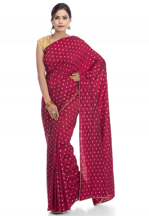 Woven Art Silk Jacquard Saree in Wine