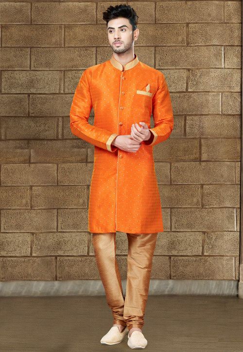 Woven Art Silk Jacquard Sherwani in Orange
