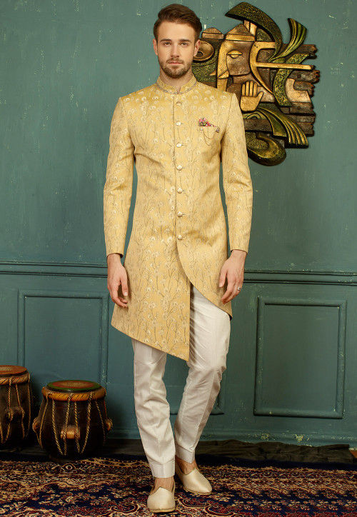 Woven Art Silk Jacquard Sherwani Set in Beige