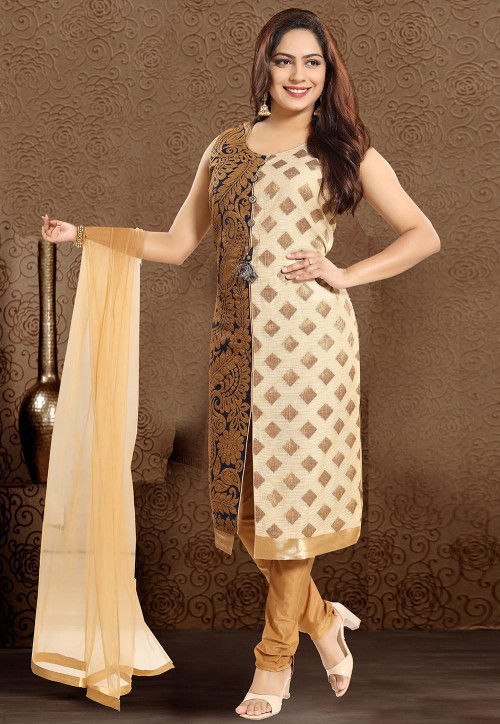 Woven Art Silk Jacquard Straight Suit in Beige and Navy Blue