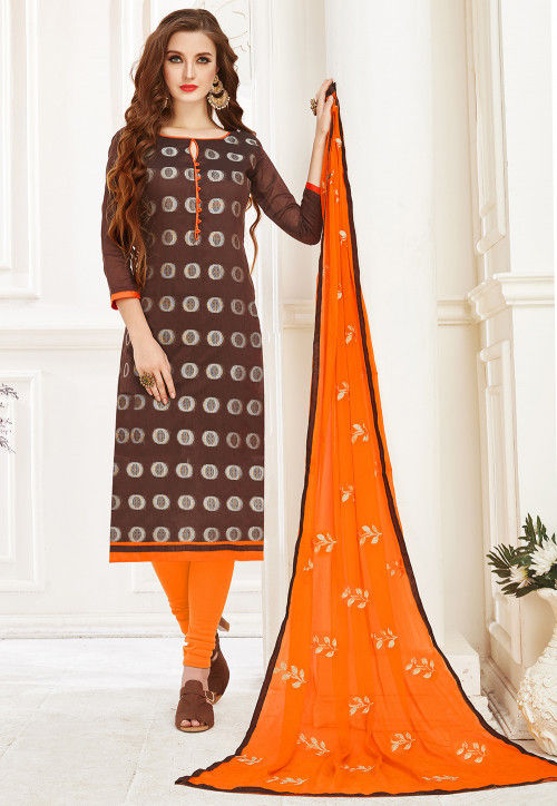 Woven Art Silk Jacquard Straight Suit in Brown