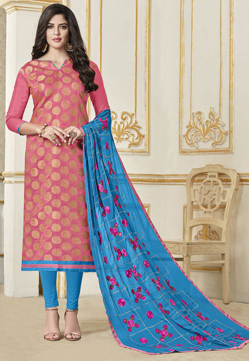 Woven Art Silk Jacquard Straight Suit in Pink