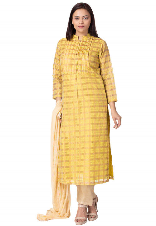 Woven Art Silk Pakistani Suit in Yellow