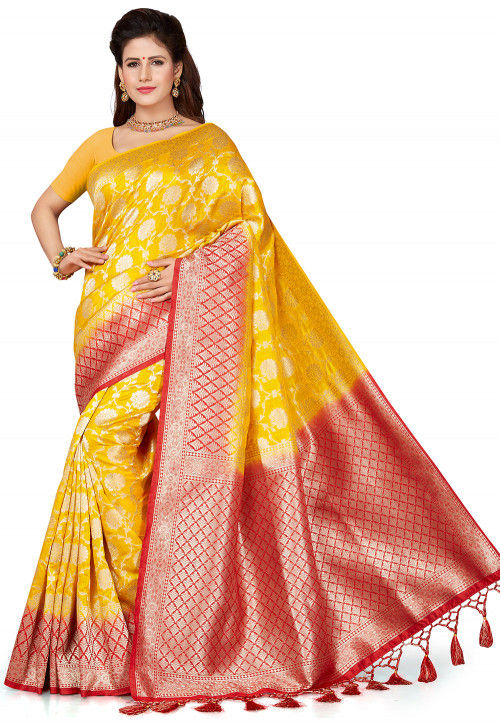 Woven Art Silk Saree in Yellow and Red