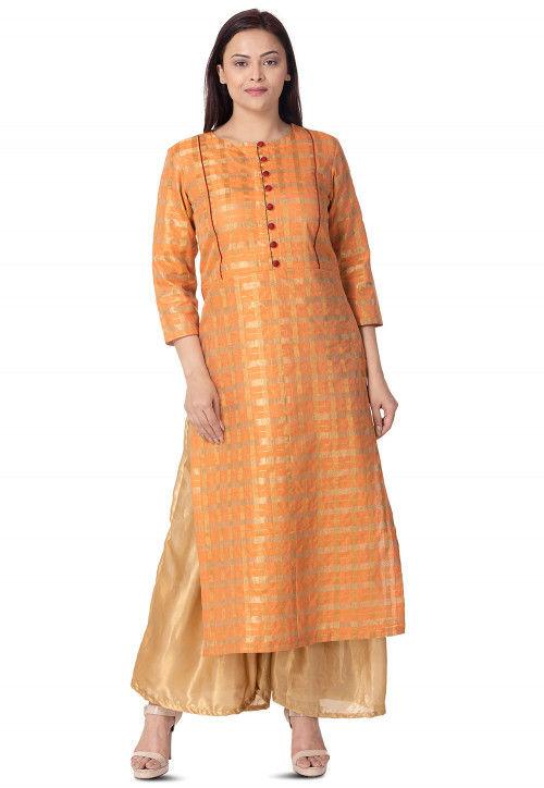 Woven Art Silk Straight Kurta in Orange