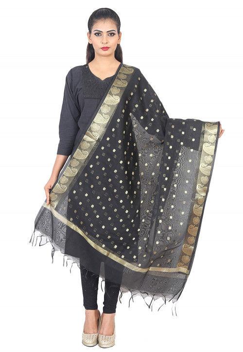 Woven Banarasi Silk Dupatta in Black