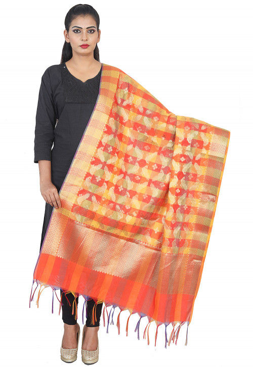 Woven Banarasi Silk Dupatta in Orange
