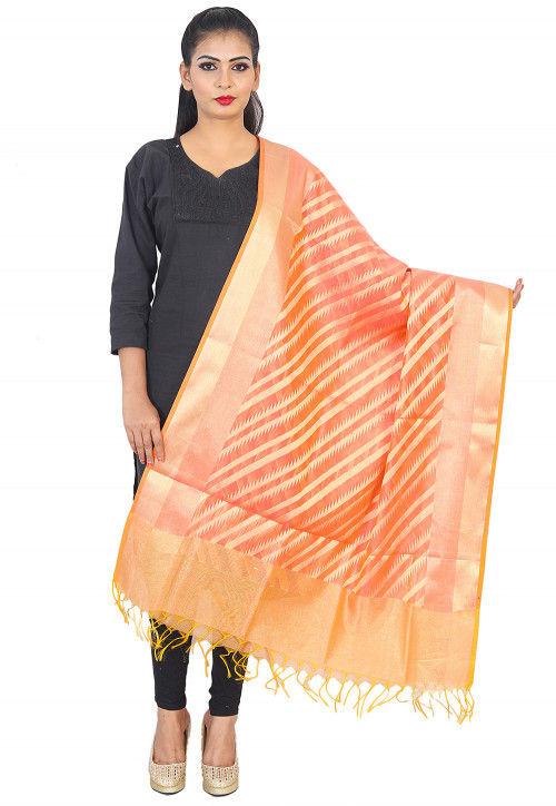 Woven Banarasi Silk Dupatta in Peach