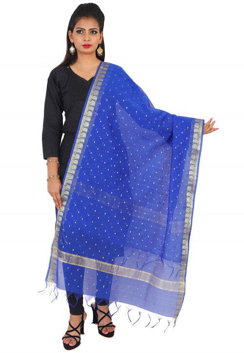 047c1365f8 Woven Banarasi Silk Dupatta in Royal Blue : BUP106