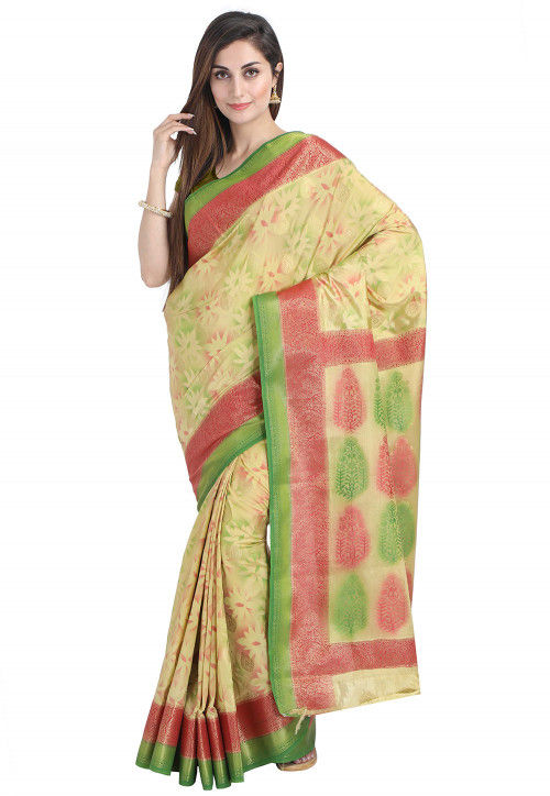 Woven Bangalore Silk Saree in Beige and Light Green