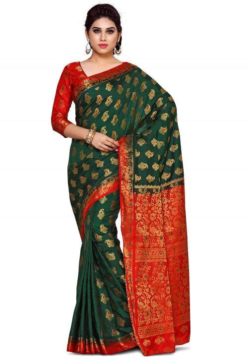 Woven Bangalore Silk Saree in Dark Green