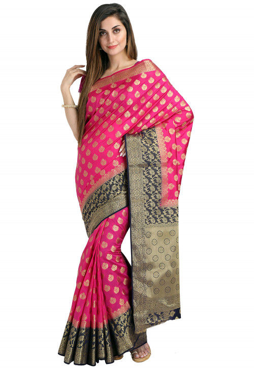 Woven Bangalore Silk Saree in Fuchsia