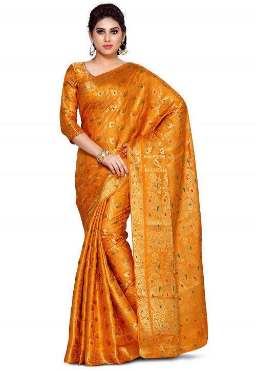 Woven Bangalore Silk Saree in Mustard