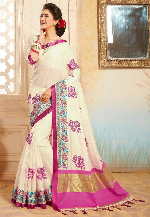 Woven Bangalore Silk Saree in Off White