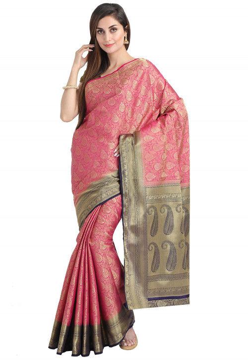 Woven Bangalore Silk Saree in Pink