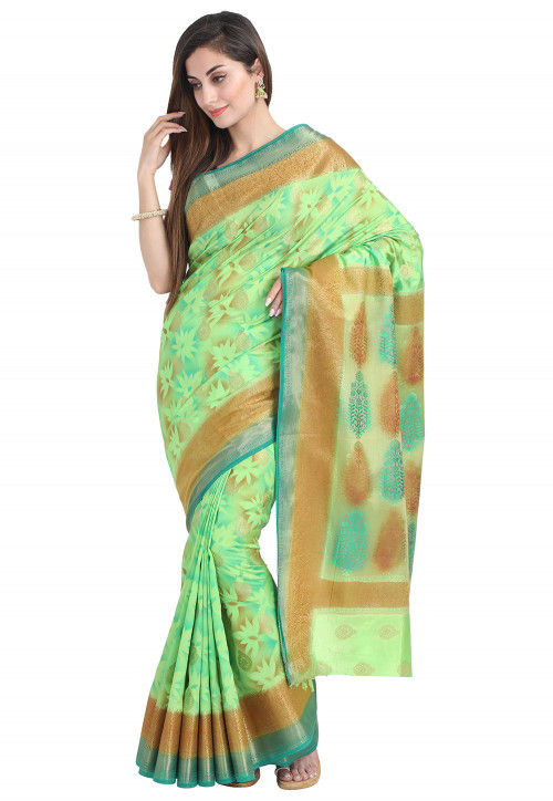 Woven Bangalore Silk Saree in Sea Green