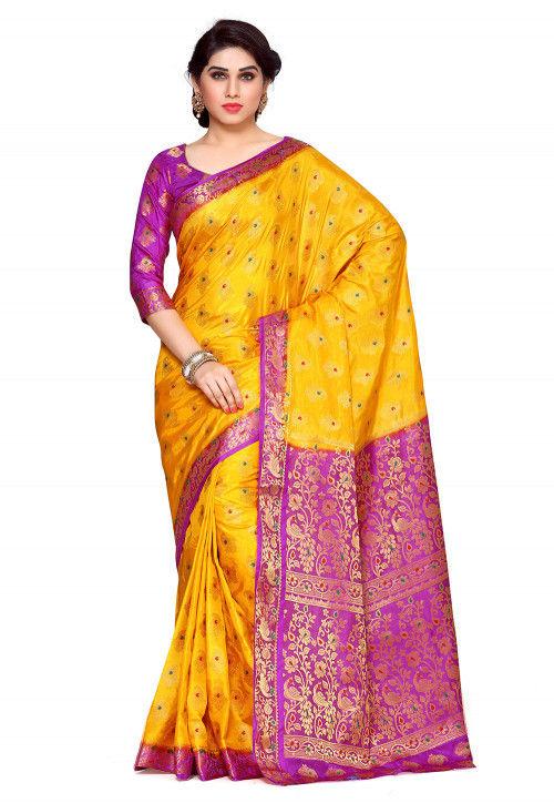 Woven Bangalore Silk Saree in Yellow