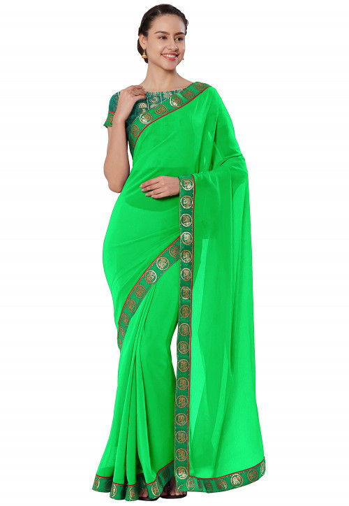 Woven Border Chiffon Saree in Light Green