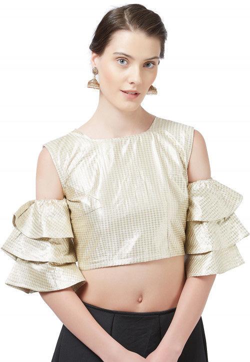 Woven Brocade Silk Blouse in Light Beige