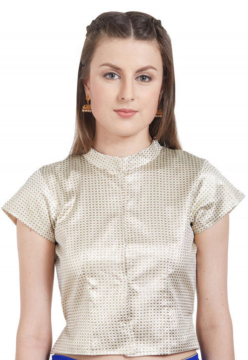 Woven Brocade Silk Blouse in Off White