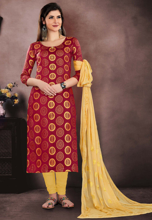 Woven Chanderi Silk Jacquard Straight Suit in Red