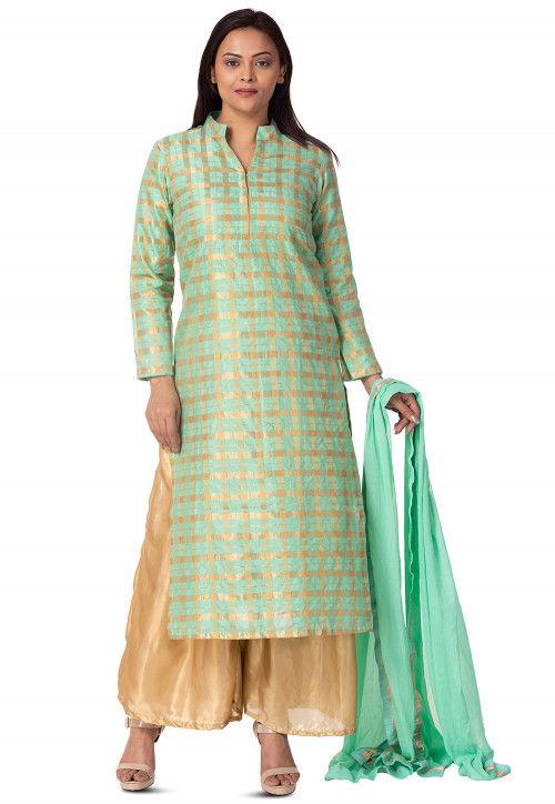 Woven Chanderi Silk Pakistani Suit in Sea Green