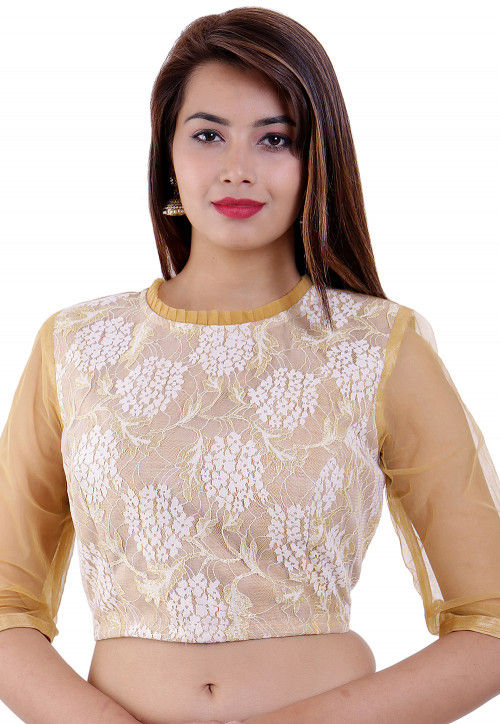 Woven Chantelle Net and Dupion Silk Padded Blouse in Beige
