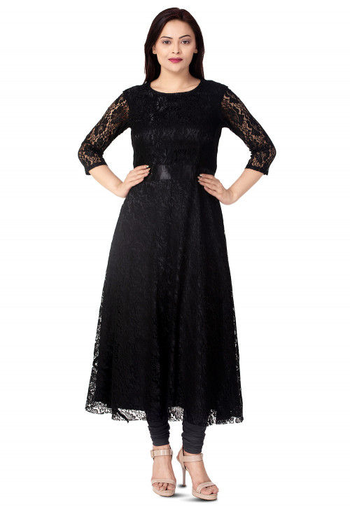 Woven Chentalle Net Flared Kurta in Black