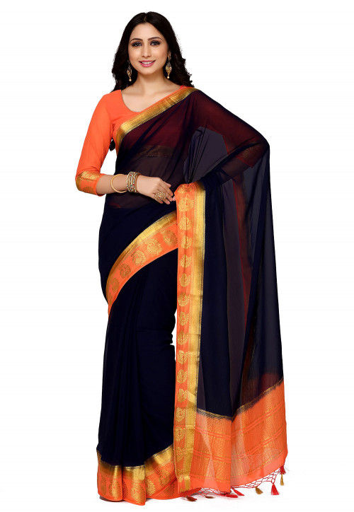 Woven Chiffon Saree in Navy Blue