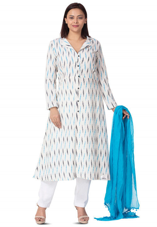 Woven Cotton Front Open Straight Suit in White