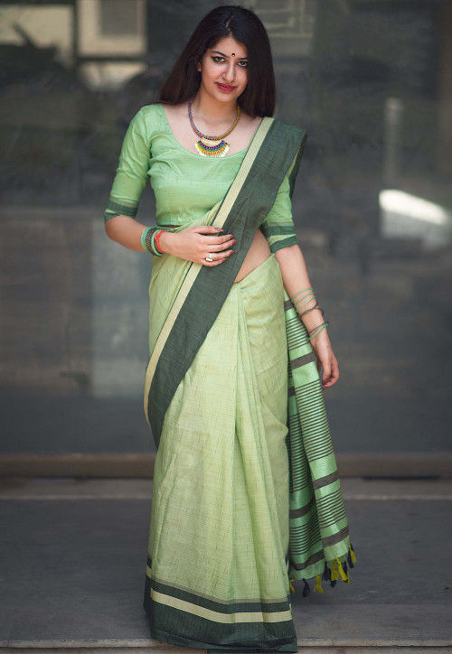 Woven Cotton Saree in Light Green