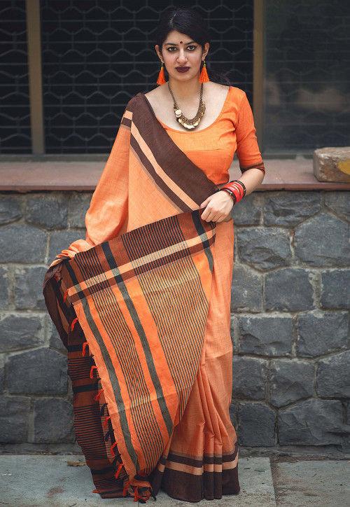 Woven Cotton Saree in Orange