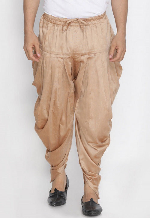 Woven Cotton Silk Dhoti Pant in Beige