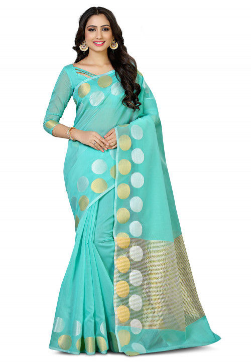 Woven Cotton Silk Saree in Turquoise