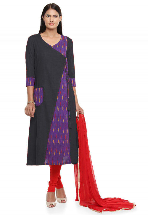 Woven Cotton Slub Straight Suit in  Dark Grey and Purple