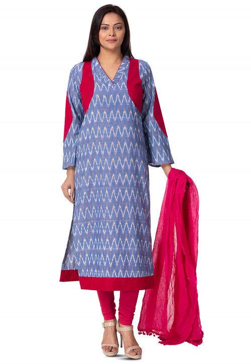 Woven Linen Cotton Straight Suit in Light Blue