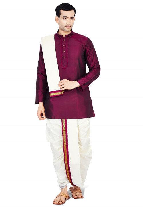 Woven Pure Silk Dhoti with Kurta in Maroon