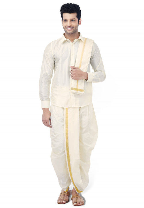 Woven Pure Silk Dhoti with Shirt in Cream