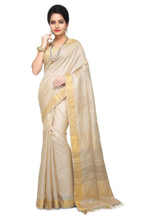 Woven Pure Tussar Silk Saree in Light Beige