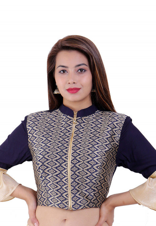 Woven Rayon and Brocade Blouse in Dark Blue