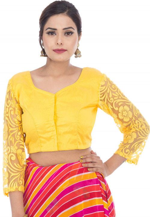 Woven Sleeve Dupion Silk Blouse in Yellow