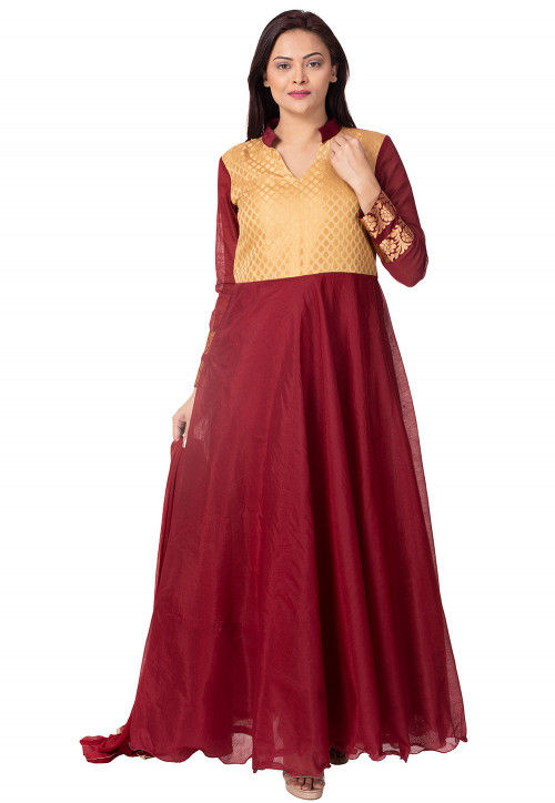 Woven Yoke Chanderi Cotton Abaya Style Suit in Maroon