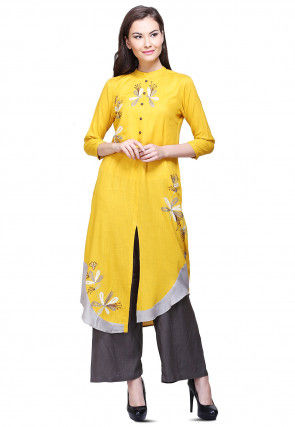 Aari Embroidered Cotton Front Slit Kurta in Mustard