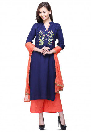 Aari Embroidered Cotton Pakistani Suit in Dark Blue